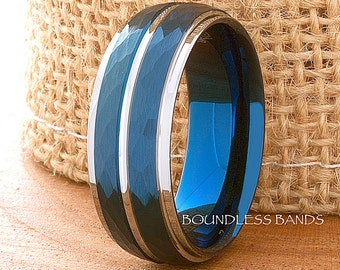 Tungsten Ring Wedding Band Hammered Dome Silver Blue Band 8mm Men's Women's Tungsten Promise Ring Anniversary Ring Promise Ring Comfort Fit