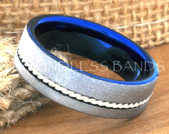 Tungsten Ring Tungsten Wedding Ring Mens Wedding Ring Promise Anniversary Engagement 7mm White And Blue Woven Silver Inlay  Matching Rings