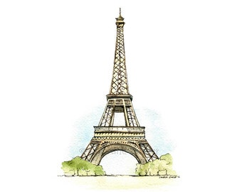 "5x7"" Eiffel Tower Watercolour Print."