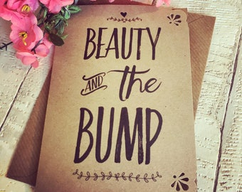 Superior Handmade Baby Shower Card, Beauty And The Bump, Rustic Kraft Card With  Envelope,