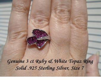 3 ct Ruby & White topaz Ring Size 7