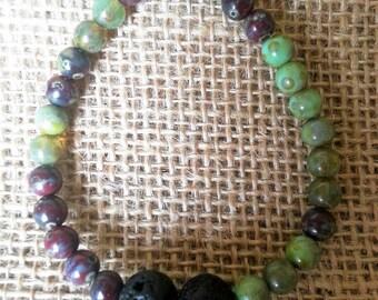 Essential oil diffuser bracelet, Green & Burgundy