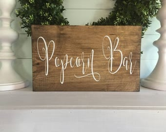 Popcorn Bar - Popcorn Bar Sign - Popcorn wood sign - Wedding Popcorn - Custom wedding sign - custom sign - wedding sign -