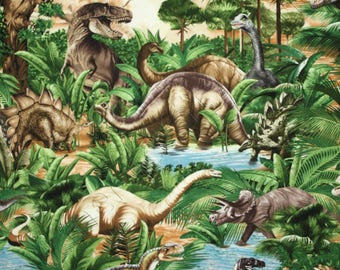 Dinosaur Fabric / Dinosaur Jungle Fabric / Timeless Treasures C1545  - Fat Quarters and By The Yard