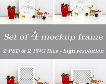 Set Christmas Deer Family Cone Styled Stock Photography Bundle Frame Mockup Digital Product Background Photo Download Frame
