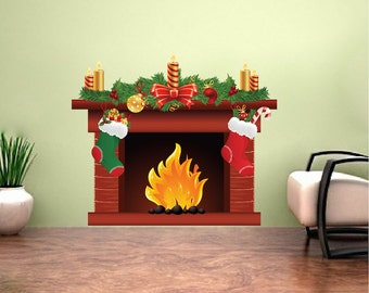 Christmas Fireplace Decal Mural, Holiday Fireplace Decal, Yule Log Decal,  Interior Wall Decor, Wall Sticker Cling, Fireplace Wall Decal, h92