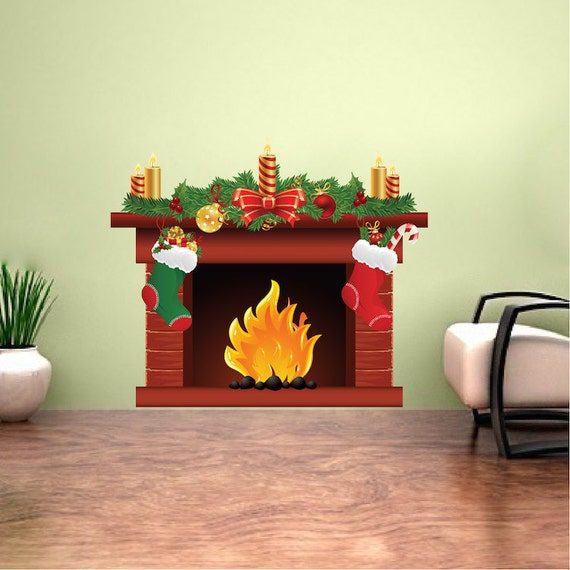 Christmas Fireplace Decal Mural h92  SIZES: (Tall x Wide - inches) 12x14 22x26 44x50  PRODUCT DETAILS: Spice up any room with this vibrant wall sticker from Prime Decals! REMOVABLE and very user friendly