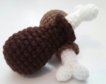 Chicken Turkey Thigh Cat Toy Crochet Pattern, Pet Gift -CROCHET PDF