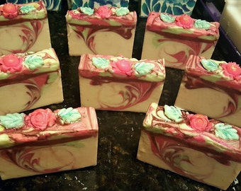 Rose Silk Home Made Artisan Soap Bar / Cold Process Soap / Silk Soap / Tea Tree Soap / Rose Soap