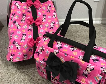 Hot pink Minnie mouse diaper bag and car seat canopy custom message me with the name that you would like on diaper bag and canopy