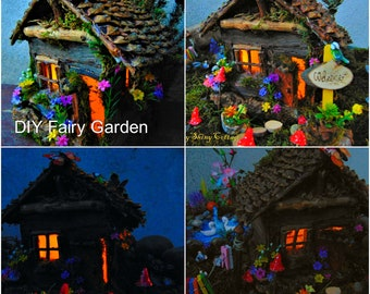 Complete Large Fairy Garden Kit, Everything You Need, Fairy Garden Kit,Fairy Led Light House,Fairy House Kit,Fairy Pond,Fairy Wooden Bridge