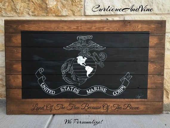 United States Marine Corps Flag-USMC-Pallet Board-Military- Wall Art-Rustic Barnwood Decor-Man Cave-Flags-Shabby-Reclaimed Wood-Hand Painted