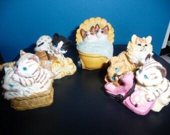 Vintage  set of 5 Cat Figurines