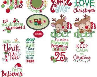 Christmas Sentiments Eight Machine Embroidery Designs 4x4 5x7 6x10