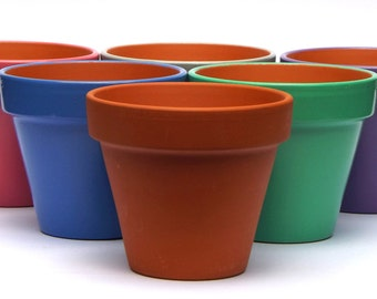 Teracotta Flower Plant Pot. 15.5cm by 14cm. Various colours to choose from.