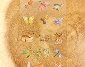Dragonfly Stickers, Deer, Bugs, Birds, Woodland Animals, Gift for Animal Lover
