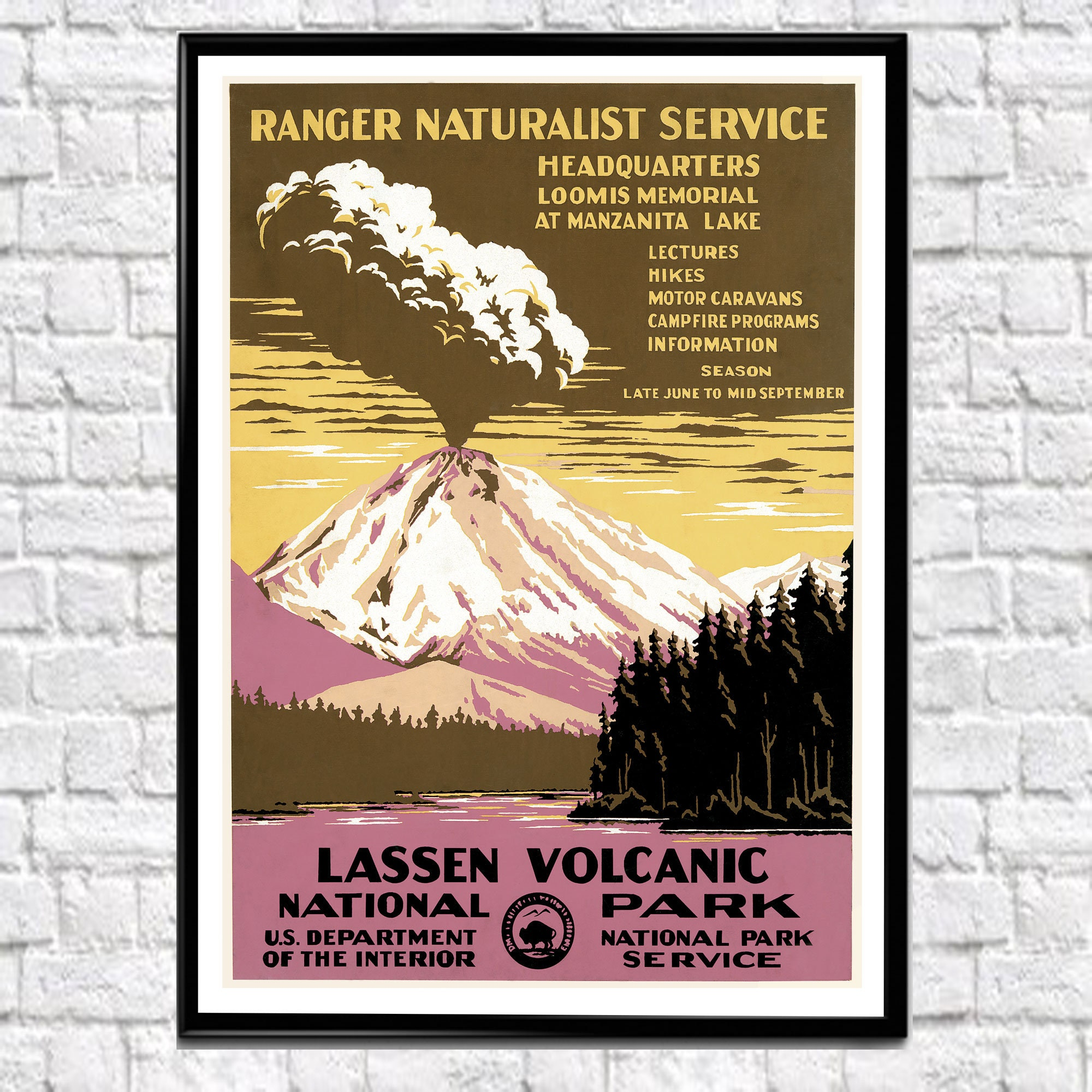 national parks poster lassen volcanic national park california. Black Bedroom Furniture Sets. Home Design Ideas