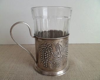 Vintage soviet tea glass holder - retro Russian glass holder –podstakannik from USSR.