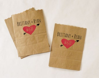 Wedding Favor Bags, Popcorn Buffet, Candy Table, Chocolate Bar, Kraft Paper Treat Bags - Custom Names and Date