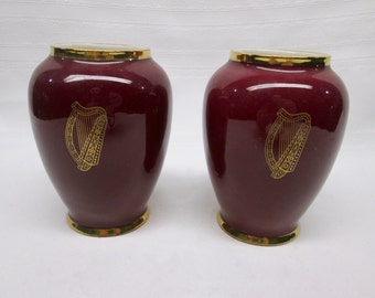 Vintage Pair of Burgundy and Gold Harp Vases - Arklow Pottery - Made in Republic of Ireland
