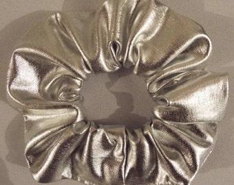 Metallic silver hair scrunchie