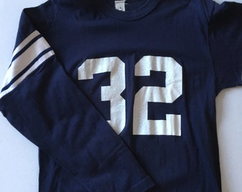 Vintage Sportswear Football Jersey Navy Blue White Striped #32 Front and Back 70's Size Large