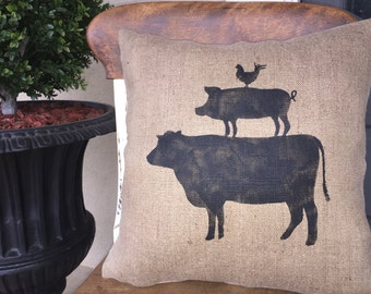 Farm Animals Pillow/Farm Animal Topiary/Pillow/Hand Painted Pillow/Throw Pillow/Cow/Pig/Rooster/Farm House