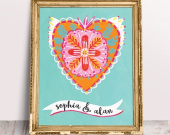 Personalised Folk Heart Print, Custom Text Poster, Orange Bohemian Heart Art on Turquoise Background, Customisable Gift for Mother's Day