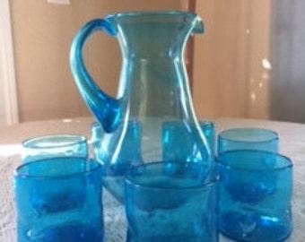 Hand Blown Glass Picture & Glasses