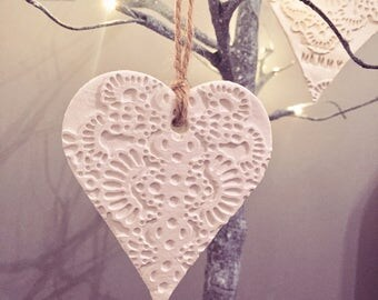 White Ceramic Hanging Heart Decoration