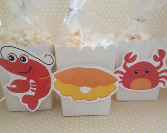 Clambake, Lobster, Crab, Clam Party Popcorn or Favor Boxes - Set of 10