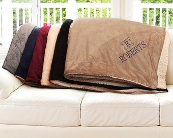 Personalized Sherpa Blanket Family Name and Initial Embroidered