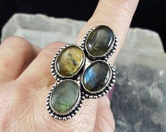 Labradorite Statement Ring - Size 9