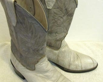 Teens Boy's Vintage 70's,2-Tone Gray COWBOY Rodeo Boots By ACME.4D/5.5 Wom