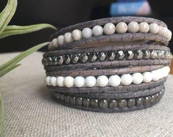 Howlite healing wrap bracelet bohemian jewelry bridal accessories gift for her chan luu modern boho leather bracelet