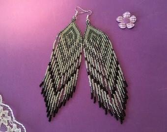 Fringe Earrings, Tribal Style Earrings, Grey Feather Earrings, Boho Style Earrings, Hippy Earrings, Seed Bead Earrings
