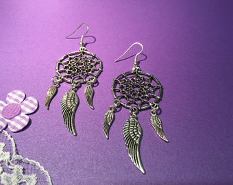 Dream Catcher Earrings, Tibetan Silver Dream Catcher Earrings, Handmade Earrings