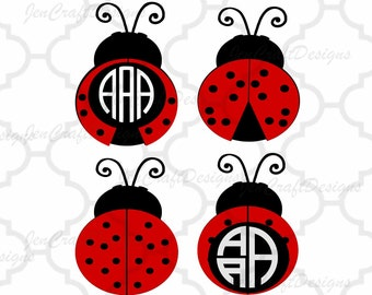 Ladybug SVG Frames, lady bug beetle Svg Cut Files, svg, dxf, ai, eps, png cut files, Instant download.  love bug monogram frame