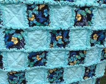 "Butterfly and Aqua Rag Quilt 57""x74"" Blue Butterflies Homemade Rag Quilt Aqua Solid Lap Twin Throw Aqua Flannel"