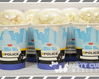Cops and Robbers Party Supplies-Party Cups and Lids-Set of 8