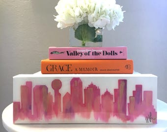 Mini Dallas Skyline Pink on Gallery Wrapped Canvas with Epoxy Resin Coat 4x12x1.5