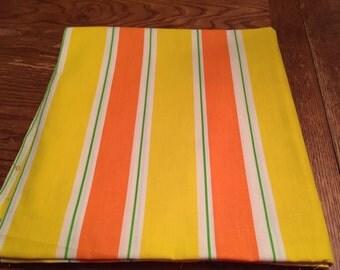 Vintage Yellow, Orange, & Green Striped Cotton Fabric