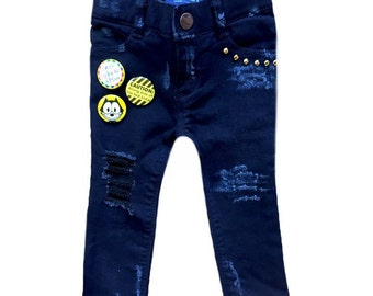 Distressed denim with buttons Studded denim Toddler skinny jeans Toddler girl jeans Christmas clothes Toddler girl jeans Baby girl 12-18 mo
