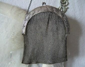 Antique 800 silver evening bag Theatre bag vintage silver bag with rose decoration