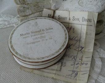 Antique vintage cardboard box jewellery pots bohemian boudoir shabby chic