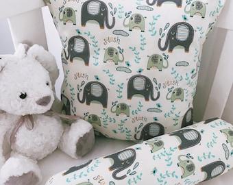 Blue Elephant Splash Cushion Cover And Bolster Set
