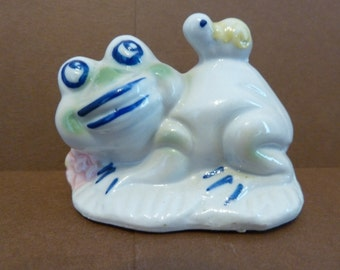 Figurine of Whimsical Frog with Snail, Sitting on a Lily Pad