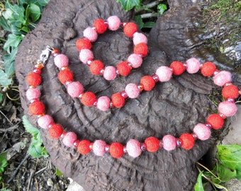 Chains, children, necklace and bracelet,' lollipop felt balls and glass beads, Waldorf