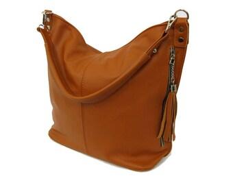 Tan LEATHER HOBO BAG, Camel brown Everyday Leather Shoulder Bag, Leather tassel