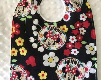 Personalized Baby Bib, Baby and Toddler Feeding Bib- Disney Minnie Mouse Flowers